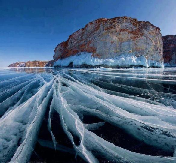 Frozen Lake Baikal, Russia.